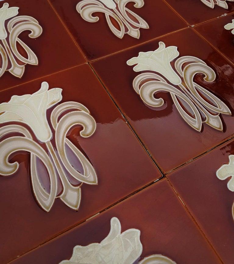 30 Art Jugendstil Ceramic Tiles by Gilliot Fabrieken te Hemiksem, circa 1920 For Sale 5
