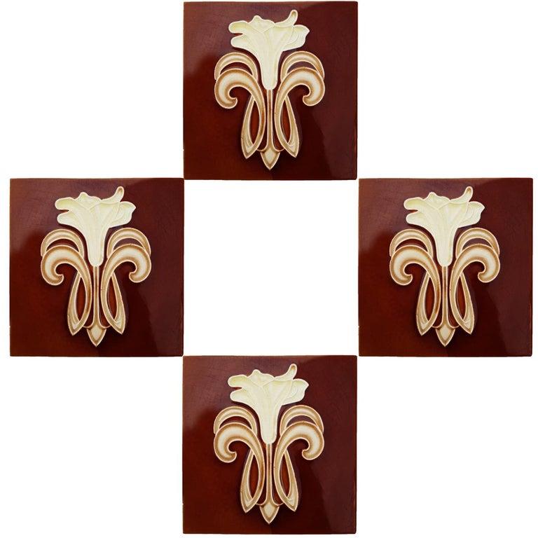 European 30 Art Jugendstil Ceramic Tiles by Gilliot Fabrieken te Hemiksem, circa 1920 For Sale