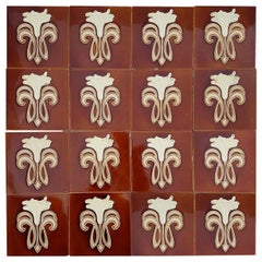 30 Art Jugendstil Ceramic Tiles by Gilliot Fabrieken Te Hemiksem, circa 1920