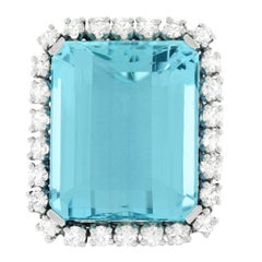 30 Carat Aquamarine and Diamond set Platinum Ring