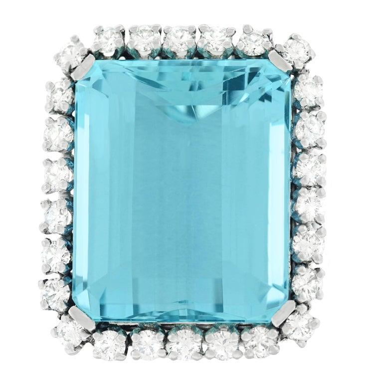 30 Carat Aquamarine and Diamond set Platinum Ring For Sale