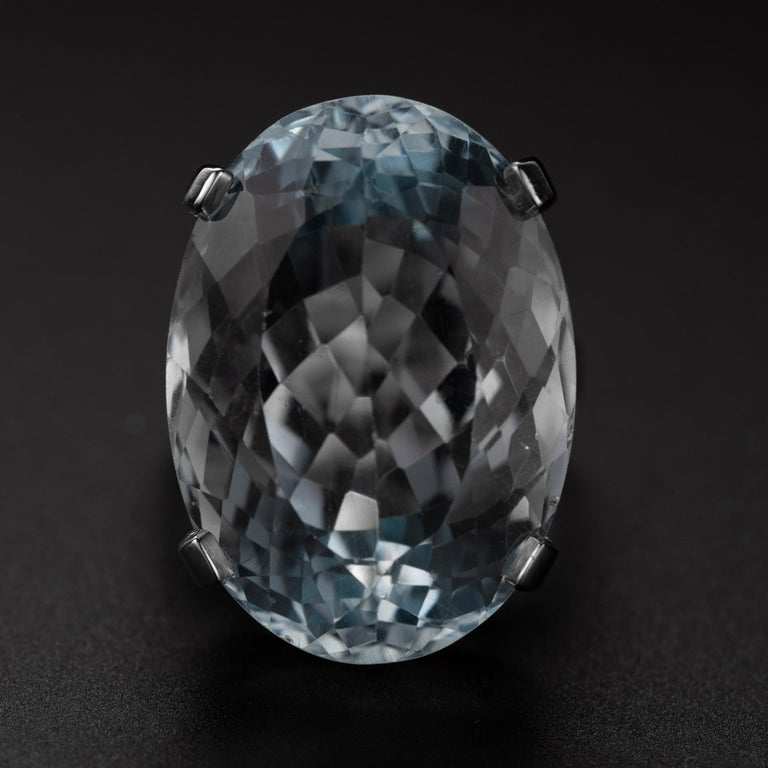 This 30-carat (24.51mm x 18.50mm x 12.93) light, fresh blue aquamarine is just impossible to look away from. Normally I love deeply saturated gems, but this light blue aqua has a lot of fire and I really love that. The oval cut stone is somewhat