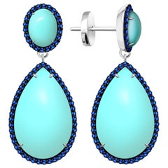 30 Carat Armenian Vivid Blue Turquoise Sapphire 14 Karat White Gold Earrings