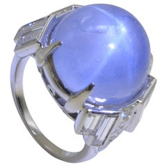 30 Carat Blue Star Sapphire Cabochon Diamond Baguette Platinum Ring