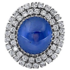 30 Carat Cabochon Blue Sapphire and Diamond Double Halo Cocktail Ring