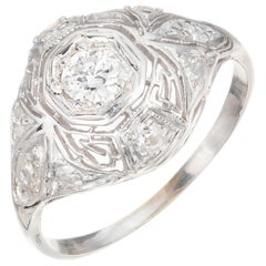 .30 Carat Diamond Art Deco Filigree Platinum Engagement Ring