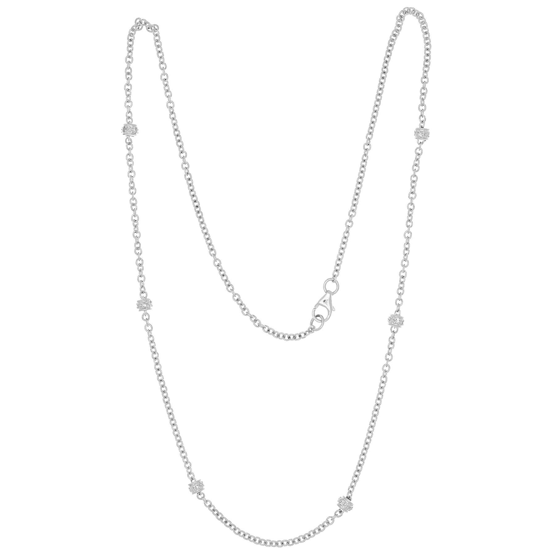.30 Carat Diamond by the Yard White Gold Necklace