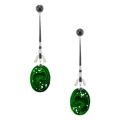 .30 Carat Diamond Carved Jadeite Jade Onyx White Gold Dangle Drop Earrings