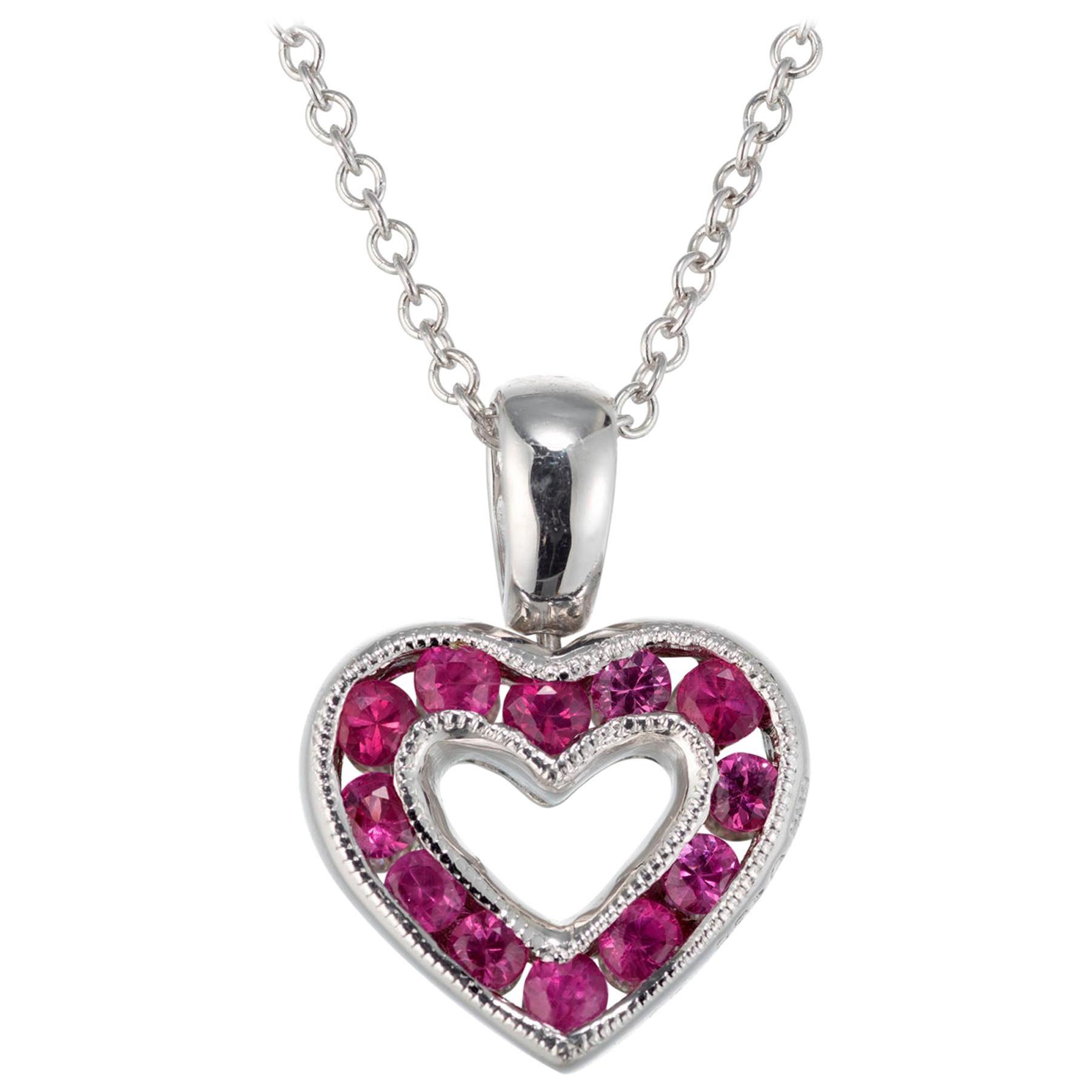 .30 Carat Diamond Pink Sapphire White Gold Heart Pendant Necklace