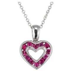 .30 Carat Diamond Pink Sapphire White Gold Heart Pendant Necklace