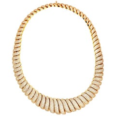 30 Carat Diamond Wave Motif Necklace