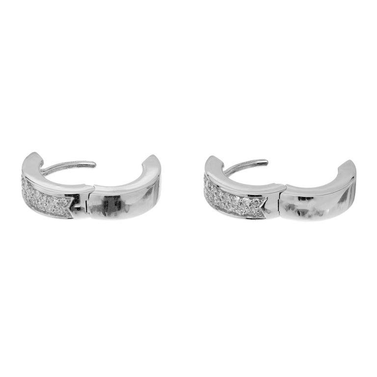 Round Cut .30 Carat Diamond White Gold Huggie Hoop Earrings For Sale