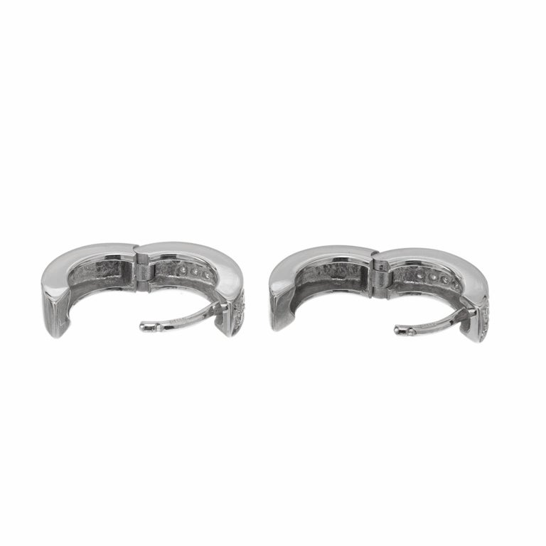 .30 Carat Diamond White Gold Huggie Hoop Earrings In Excellent Condition For Sale In Stamford, CT