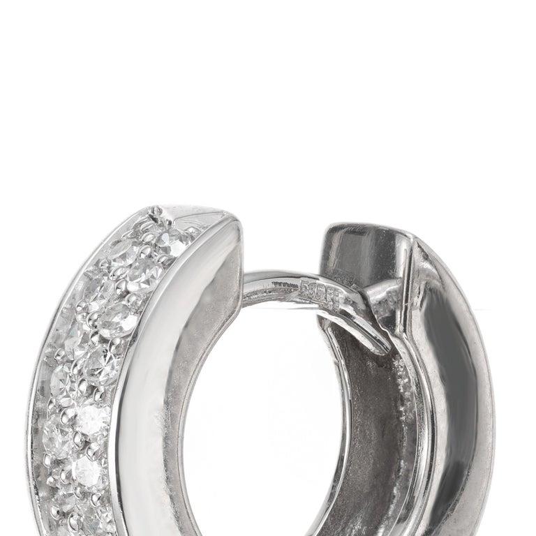 Women's .30 Carat Diamond White Gold Huggie Hoop Earrings For Sale