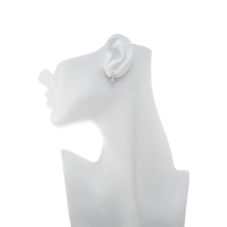 .30 Carat Diamond White Gold Huggie Hoop Earrings For Sale 1