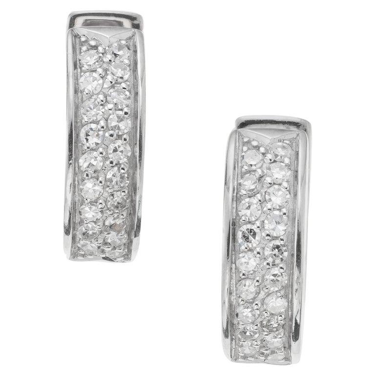 .30 Carat Diamond White Gold Huggie Hoop Earrings For Sale