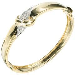 .30 Carat Diamond Yellow Gold Hinged Buckle Bangle Bracelet