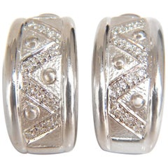 .30 Carat Diamonds Semi Hoop or Huggie Diamond Earrings 18 Karat Omega