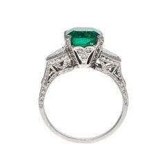 3.0 Carat Emerald Diamond Platinum Ring