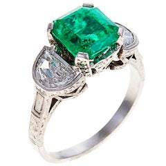 3.0 Carat Emerald Diamond Platinum Ring
