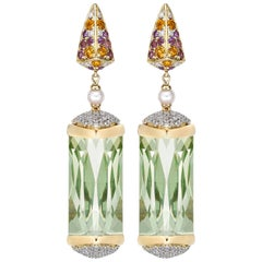 30 Carat Green Amethyst and Diamond Earring in 18 Karat Yellow Gold