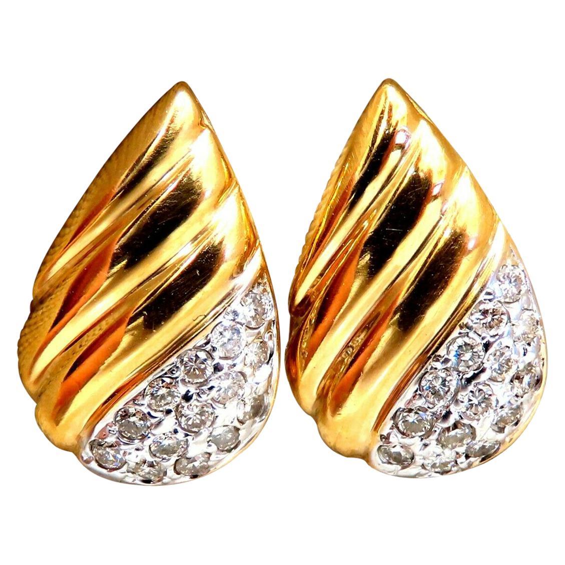 .30 Carat Natural Diamond Tear Drop Earrings 14 Karat
