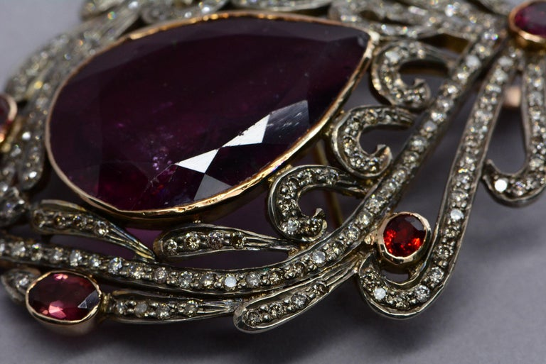 Victorian 30 Carat Pear Shaped Tourmaline with Diamonds, Garnets, 15kt Gold/Silver Brooch For Sale