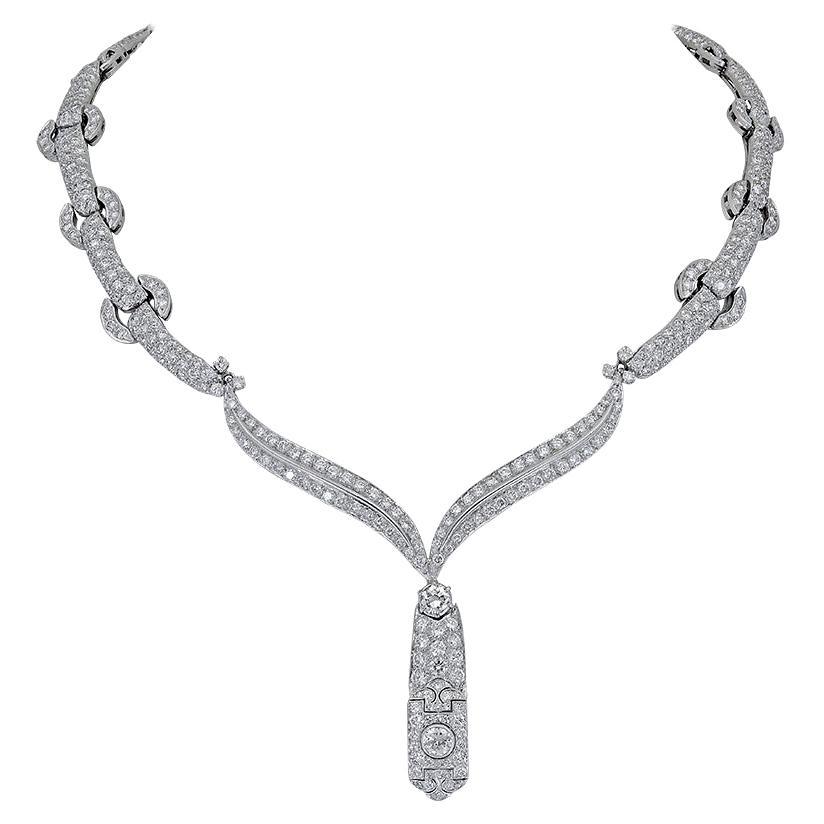 30 Carat Round Diamond Link Drop Necklace