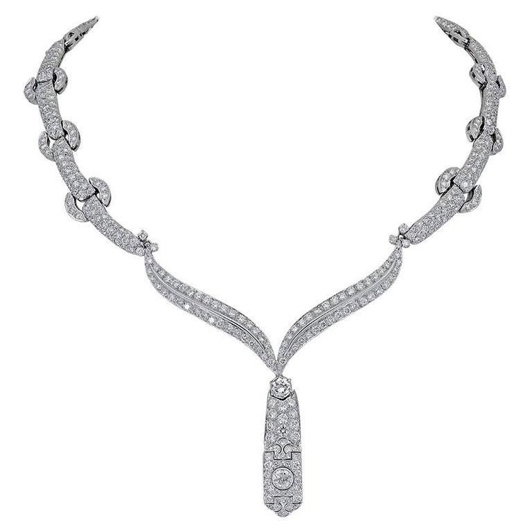30 Carat Round Diamond Link Drop Necklace For Sale