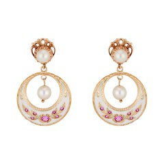 .30 Carat Ruby Pearl Yellow Gold Enamel Dangle Earrings