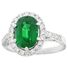 3.0 Carat Tsavorite and Diamond Set Gold Ring
