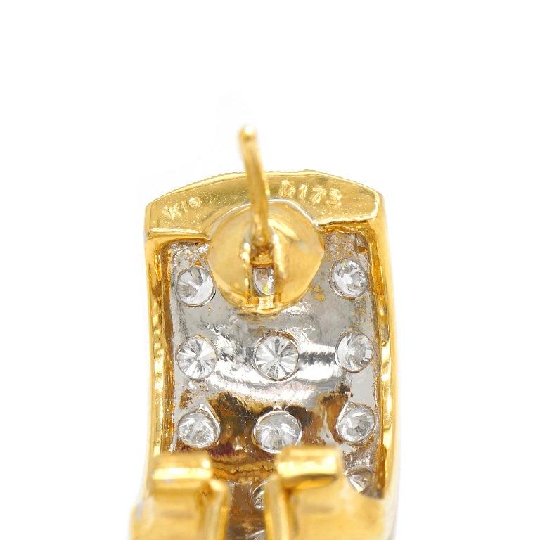 Women's 3.0 Carat Diamond-Set Gold Earrings For Sale