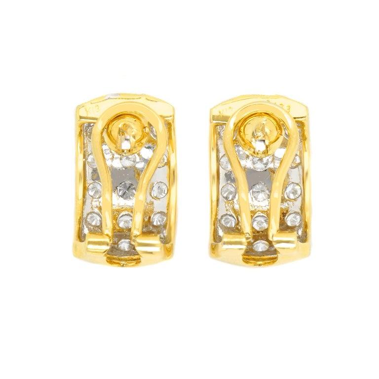 3.0 Carat Diamond-Set Gold Earrings For Sale 3