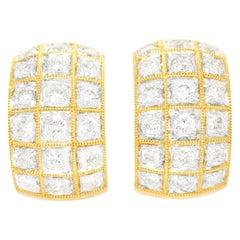 3.0 Carat Diamond-Set Gold Earrings