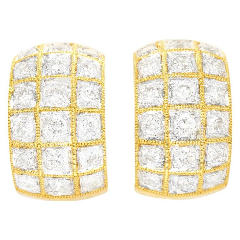 3.0 Carat Diamond-Set Gold Earrings For Sale