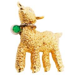 .30 CT TW Diamond & Emerald Lamb Sheep Custom Charm Brooch in 14K Yellow Gold