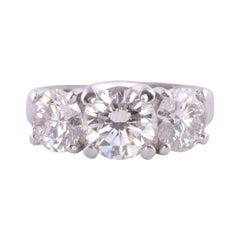 3.0 CTW VS1 Three Diamond Platinum Ring
