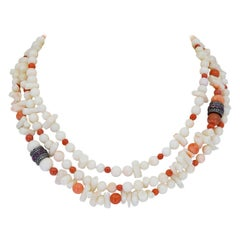 30 inch White and Red Coral Necklace