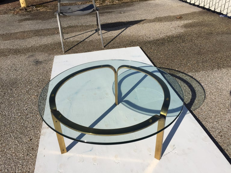 Mid-Century Modern Nicos Zographos Brass Glass Ribbon Coffee Table Base For Sale