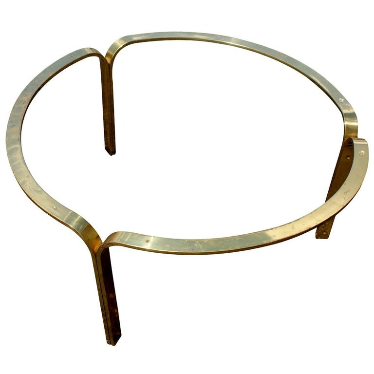 American Nicos Zographos Brass Glass Ribbon Coffee Table Base For Sale