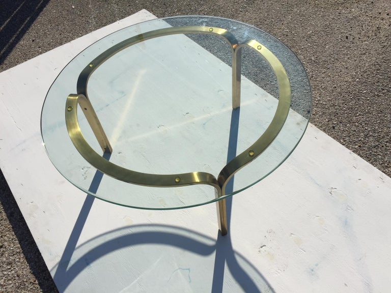 Nicos Zographos Brass Glass Ribbon Coffee Table Base In Good Condition For Sale In Pasadena, TX