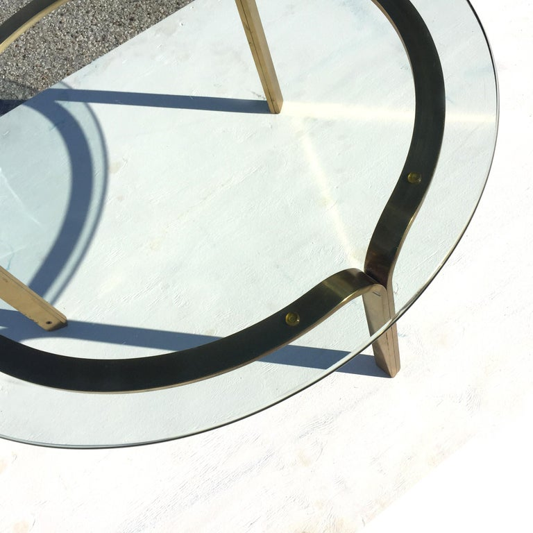 Late 20th Century Nicos Zographos Brass Glass Ribbon Coffee Table Base For Sale