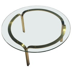 Nicos Zographos Brass Glass Ribbon Coffee Table