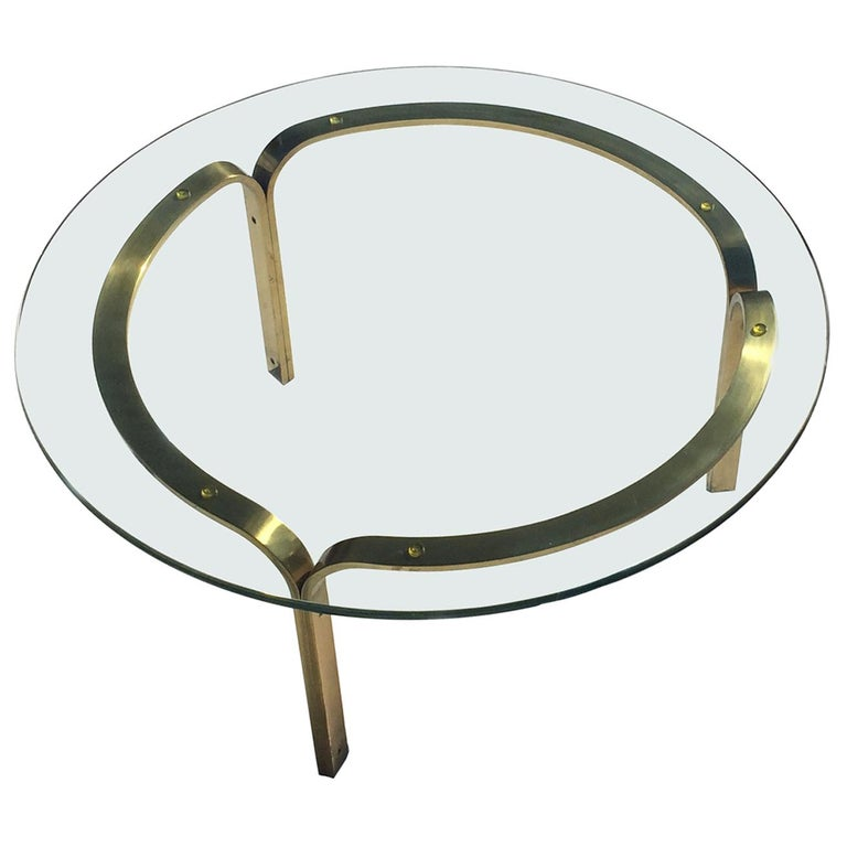 Nicos Zographos Brass Glass Ribbon Coffee Table Base For Sale