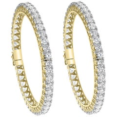 30 Pointer Each, 29 Ct Single Line Eternity 18 Kt Gold and Diamond Bangle, Pair