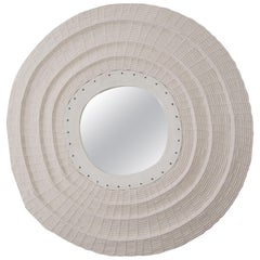 Round Woven Cotton and Ceramic Mirror in White