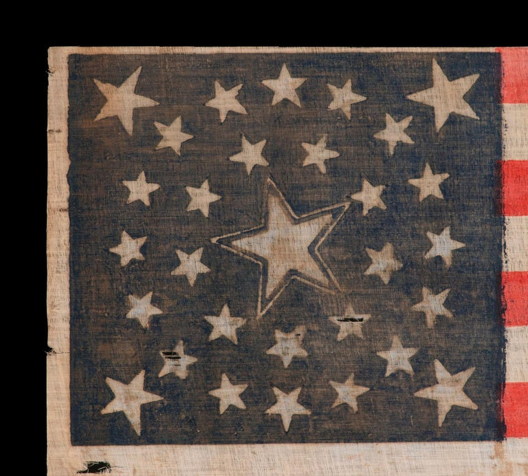 American 30 Star Flag, Pre-Civil War Ear, Haloed Center Star, Wisconsin Statehood For Sale