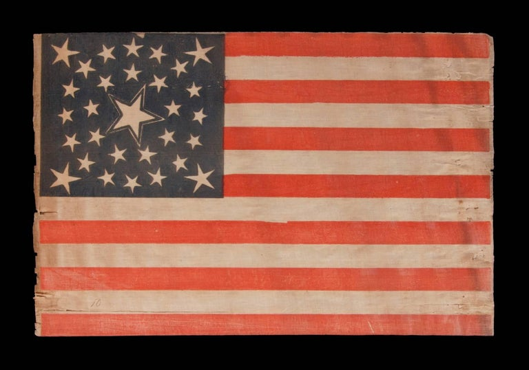 30 stars on an antique American flag of the pre-Civil War era, rare and beautiful, with a medallion configuration that features a haloed center star, Wisconsin statehood, 1848-1850: