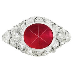3.00 Cabochon Ruby and Diamond Ring
