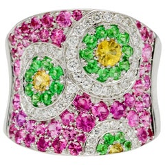 3.00 Carat 18 Karat White Gold Diamond Pink Yellow Sapphire, and Tsavorite Ring